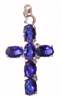 CSterling Silver Cross Blue CZs - Click To Enlarge