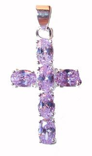 CSterling Silver Cross Lilac CZs - Click To Enlarge