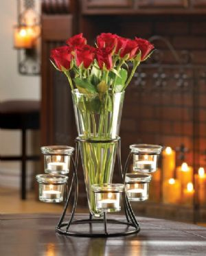 CCircular Candle Stand with Vase - Click To Enlarge