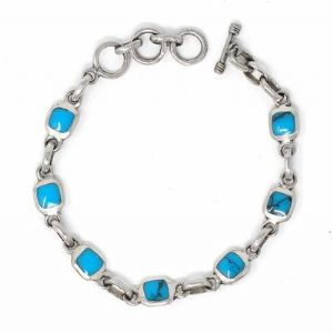 CAlpaca Silver & Turquoise bracelet - Click To Enlarge