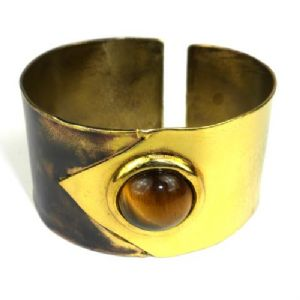 CTiger Eye Brass Cuff bracelet - Click To Enlarge