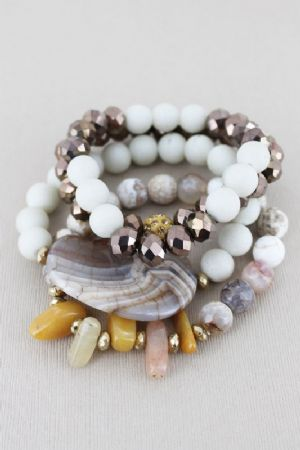 CBROWN AGATE STONE MIXED BEAD BRACELET SET - Click To Enlarge