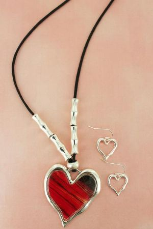 CRED HEART PENDANT BEADED CORD - Click To Enlarge