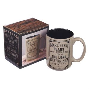 CA Man's Heart Coffee Mug  - Proverbs 16:9 - Click To Enlarge