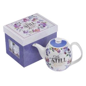 CTea Pot 6-Be Still and Know Teapot in Purple - Psalm 46:10 - Click To Enlarge