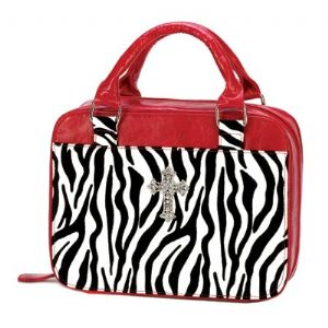 CBible Carrier - Zebra Print trimmed in Red - Click To Enlarge