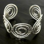 CSilver Hammered Cuff Spiral bracelet - Click To Enlarge