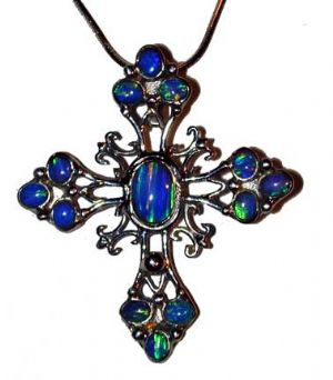 CSpecial-T Filigree Blue Opal Cross - Click To Enlarge